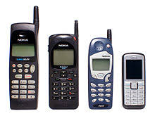nokia phone 2010. reduction in size of nokia mobile phones. left to right: 638 (1996; 19.06 cm height), 2160 efr 16.42 cm), 5160 (1998; 14.84 phone 2010