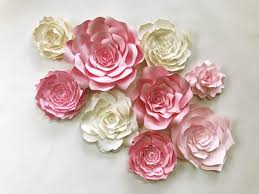 paper flower wall art for in pink and ivory available in custom colors by paperflora