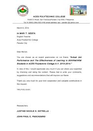 Application Letter For Ojt Hrm Students Granitestateartsmarket Com