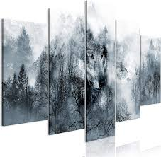 Decomonkey Bilder Wald Wolf 225x1125 Cm 5 Tlg Leinwandbilder Bild