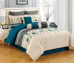elegant bedding set decoration with cream leather tufted headboard and king selene teal comforter set