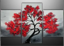 t3p57 1 t3p57 3  on 3 panel wall art set with handmade modern abstract red tree landscape oil painting on canvas 3