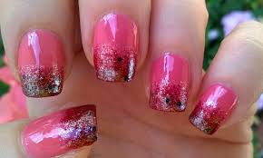 Life World Women: Pink Ombre Nail Art With Glitter Nail Polish