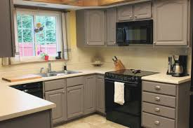 Elegant Grey Painted Kitchen Cabinets In Small Kitchen Space U2013 Cheap Kitchen