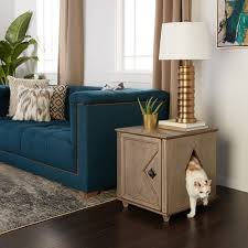 litter box hidden. Weathered Hidden Kitty Solid Wood Litter Box And Side Table O