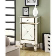 Mirror Furniture Monarch Accent Chest 29h Brushed Silver With Mirror Walmartcom