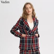 Vadim <b>women chic plaid tweed</b> blazer pockets fringe tassel long ...