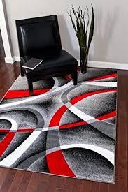 cozy 5u00272 x7u00272 modern abstract area rug carpet gray black red white swirls red black and