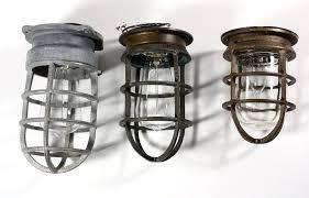 industrial cage lighting. Industrial Cage Light Fixture Antique Cast Bronze With Original Glass Signed Oceanic . Lighting