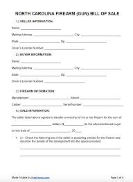 nc bill of sale form free north carolina firearm gun bill of sale form pdf word