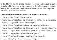 Police Chief Resume Www Sailafrica Org