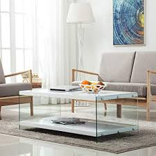 White modern coffee table Furniture Image Unavailable Amazoncom Amazoncom Lagrima Modern Coffee Table W Tiresgloss White
