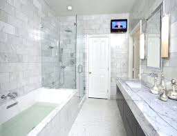 Seamless tub surround Frameless Shower Marble Tiled Bathrooms Sweet With Seamless Glass Shower Marble Subway Tiles Shower Surround Spa Tub Wall Mount Faucet Kits Modern Espresso Stained Wood 4x4makingplacesinfo Marble Tiled Bathrooms Sweet With Seamless Glass Shower Marble