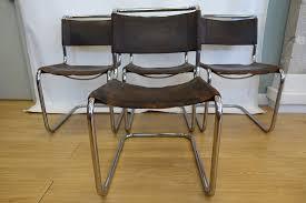 Braune S33 Verchromte Büffelleder Esszimmerstühle Von Mart Stam Für Thonet 1926 4er Set