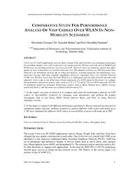 Voip Codec Comparison Chart Comparative Study For Performance Analysis Of Voip Codecs