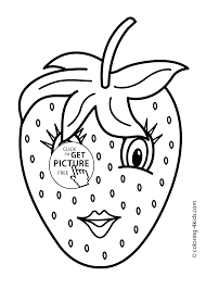 Small Picture with eyes Fruits coloring pages simple for kids printable free
