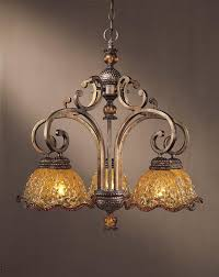 five light gold down chandelier