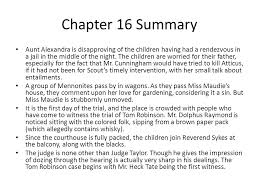 to kill a mockingbird chapters notes ppt  chapter 16 summary