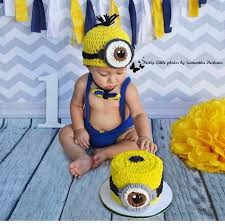 Minion Cake Smash Baby Boy Our Family Baby Photography In 2019