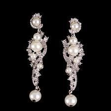 vintage bridal earrings chandelier crystal earrings dangle pearl earrings new 1 of 3 see more