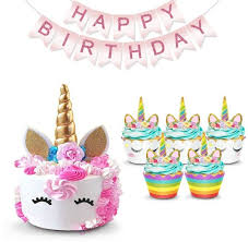 Unicorn Cake Topper Rainbow Cupcake Wrappers Kit Set Includes Horn