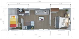 tiny house plan. Illustration Of The Interior A 2 Bedroom Tiny House With Bunk Beds, Bathroom Fittings Plan