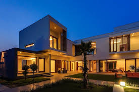 Opulence Meets Contemporary Architecture In New Delhi  India   E    Architecture Home Design Residence Two Storey House Lamp Lighting Plant Courtyard Architecture Modern Interior House Plans