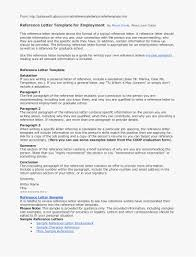 Resume Reference List Format 9 Employee Reference Letter Examples