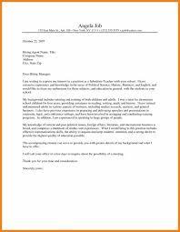 Cover Letter Substitute Teacher Cover Letter For Substitute Teacher