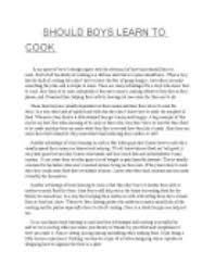 should boys learn to cook gcse english marked by teachers com page 1 zoom in
