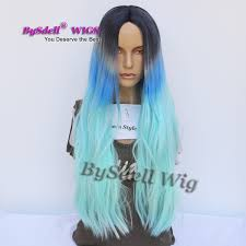 Beshe Wig Color Chart Three Tone Ombre Color Wig Synthetic Dark Grey Root Ombre Blue Pastel Color Natural Straight Hair Wig Middle Part Anime Cosplay Scalp Wigs Beshe Wigs