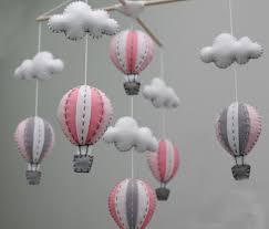 hot air balloons girl baby mobile diy kit pink