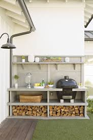 Replace the back garden off the deck with this? Have a slot for the BBQ and  wood storage? A great idea for BBQ area and storage.