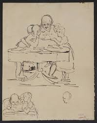 figure sketches two groups of a gentleman with spectacles seated at small round table looking at a book with two children on either side of him