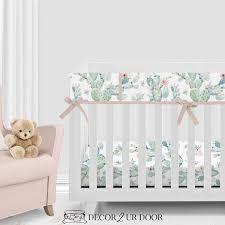 boho cactus modern baby girl crib