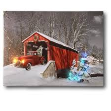 Canvas Christmas Prints With Led Lights Red Truck Canvas Print Christmas Canvas Print With Led And