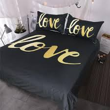 black and gold love bedding set home modern chic duvet cover set luxury and romantic bedclothes king duvet cover set queen blue and white bedspread