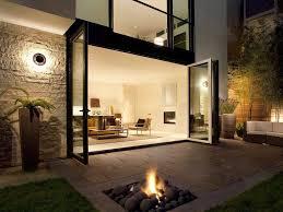 folding glass wall w patio fireplace