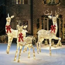 Lighted Alligator Lawn Ornament Christmas Indoor Outdoor Yard Decoration Decor Lighted Sparkling Reindeer Set