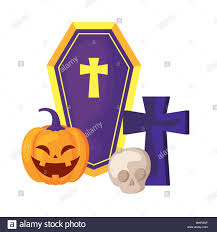 Christian Pumpkin Designs Pumpkin With Coffin And Icons Halloween Vector Illustration