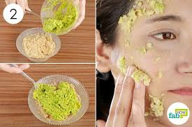 diy face mask for oily mix the oatashed avocado and apply on your face