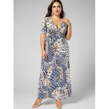 Plus Size Dress Patterns Unique Light Camel 48xl Long V Neck Printed Pattern Plus Size Dress
