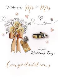Mr Mrs Wedding Congratulations Embellished Greeting Card