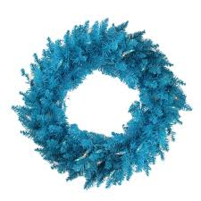 Wreath With Blue Lights