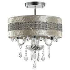 White fabric shade crystal modern drum Black Lightsinhomecom Modern Crystal Ceiling Lights With Semi Flush Fabric Shade
