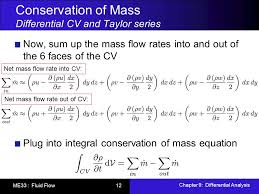conservation of mass diffeial cv and taylor series