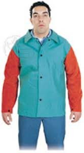 details about steel grip welding jacket with leather sleeves small