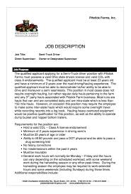 Waitress Job Description For Resume Driving Job Description Resume