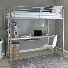twin size silver metal loft bed with desk underneath