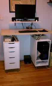 Standing Office Desk Ikea Another Nice Ikea Hack Standing Desk Using Capita Brackets And Legs By Justin D Hoffman Office A